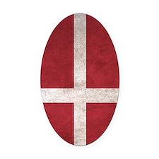 Denmark Flag Vintage / Distressed Oval Car Magnet
