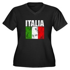 Faded Italia Women's Plus Size V-Neck Dark T-Shirt