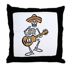 mariachi skeleton Throw Pillow