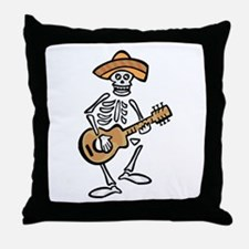 mariachi skeleton Throw Pillow