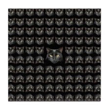 Black Cat Pattern Square Tile Coaster