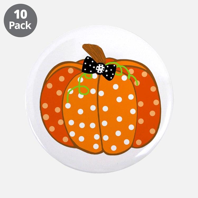 """Polka Dot Pumpkin 3.5"""" Button (10 pack)"""