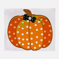 Polka Dot Pumpkin Throw Blanket