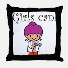 Girl Scientist Throw Pillow