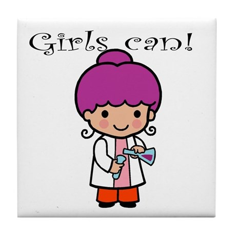 Girl Scientist Tile Coaster