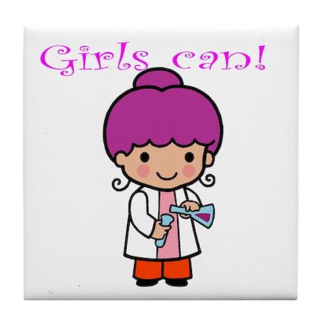 Girl Scientist Tile Coaster