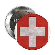 """Unique Swiss flag 2.25"""" Button"""