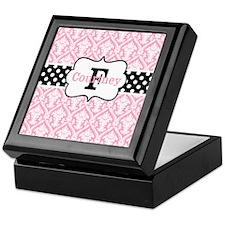 Pink Black Damask Dots Personalized Keepsake Box