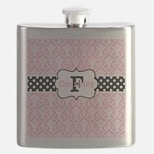 Pink Black Damask Dots Personalized Flask