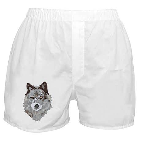 Wolf Illustration Boxer Shorts