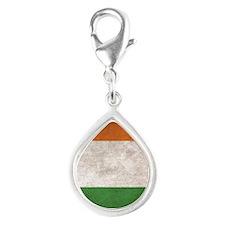 Ireland Flag Vintage / Dist Silver Teardrop Charm