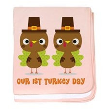 Twins 1st Thanksgiving baby blanket