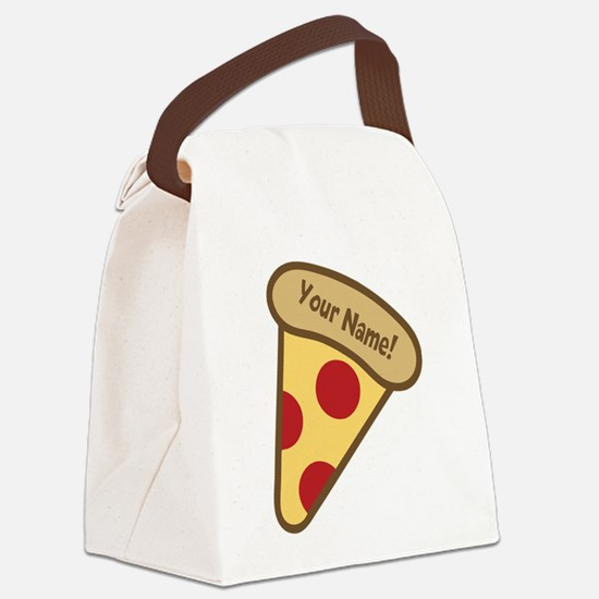 YOUR NAME Cute Pizza Canvas Lunch Bag