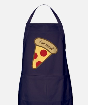 YOUR NAME Cute Pizza Apron (dark)