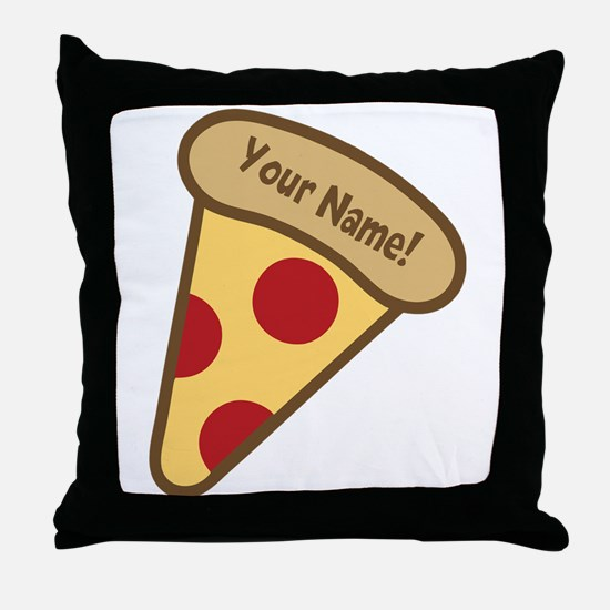 YOUR NAME Cute Pizza Throw Pillow