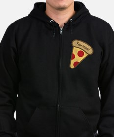 YOUR NAME Cute Pizza Zip Hoodie