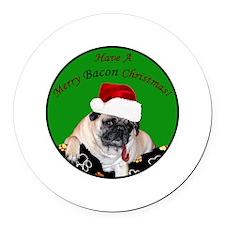 Christmas Bacon Pug Round Car Magnet
