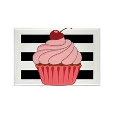 Pink Cupcake on Stripes Magnets