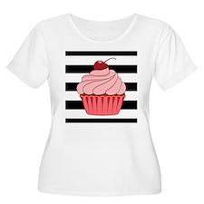 Pink Cupcake on Stripes Plus Size T-Shirt