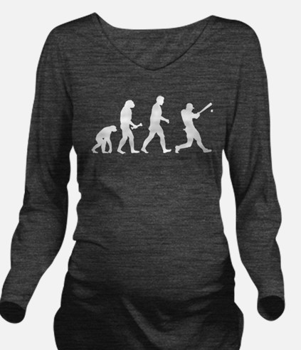 Baseball Evolution Long Sleeve Maternity T-Shirt