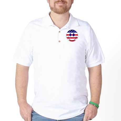American Flag Smiley Face Golf Shirt