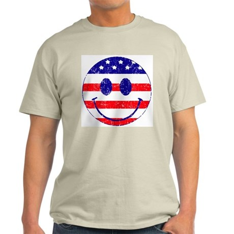 American Flag Smiley Face Light T-Shirt