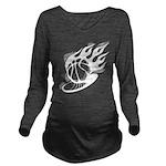 Flaming Basketball Long Sleeve Maternity T-Shirt