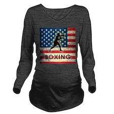 Grunge USA Boxing Long Sleeve Maternity T-Shirt