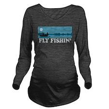 Fly Fishing Long Sleeve Maternity T-Shirt