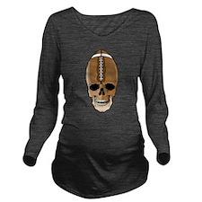 Football Skull Long Sleeve Maternity T-Shirt