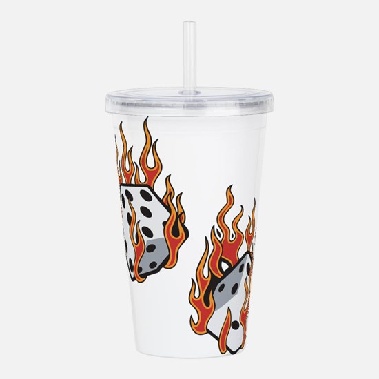 Flaming Dice Acrylic Double-wall Tumbler