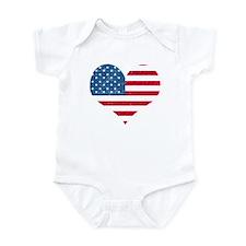 American Flag Heart Infant Bodysuit