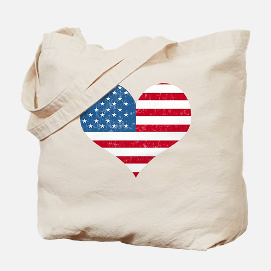 American Flag Heart Tote Bag