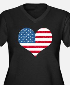 American Flag Heart Women's Plus Size V-Neck Dark
