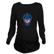 Hockey Skull Long Sleeve Maternity T-Shirt