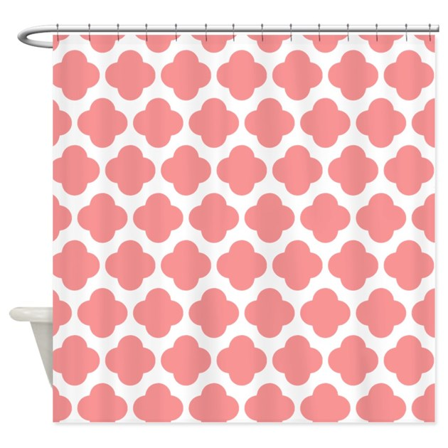 blush pink quatrefoil pattern shower curtain by