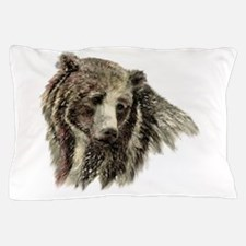 Watercolor Grizzly Bear Animal Nature Art Pillow C