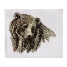 Watercolor Grizzly Bear Animal Nature Art Throw Bl