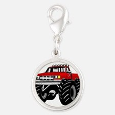 Red MONSTER Truck Silver Round Charm