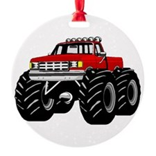 Red MONSTER Truck Round Ornament