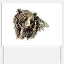 Watercolor Grizzly Bear Animal Nature Art Yard Sig