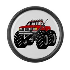 Red MONSTER Truck Large Wall Clock