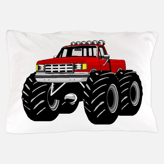 Red MONSTER Truck Pillow Case