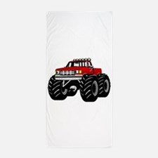 Red MONSTER Truck Beach Towel