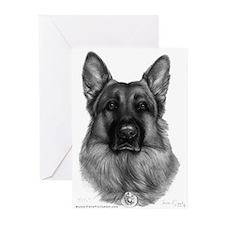 Rikko, German Shepherd Greeting Cards (Package of