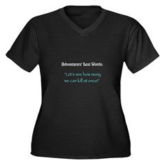 How Many? Women's Plus Size V-Neck Dark T-Shirt