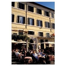 Europe, Italy, Rome. Piazza Navona, outdoor cafe Poster