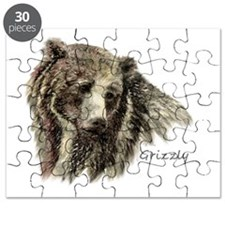 Watercolor Grizzly Bear Animal Art Puzzle