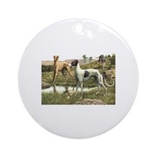 Greyhound Art Ornament (Round)