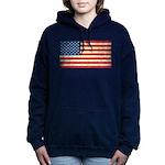 Vintage USA Flag Women's Hooded Sweatshirt